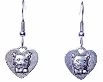 Cat Earrings - Cat Jewelry -  Cat Charm Earrings - Cat Jewelry Gift - Cat Lover Gift,  Cat Rescue Adoption - New Cat Kitty Gift - Cat Charms