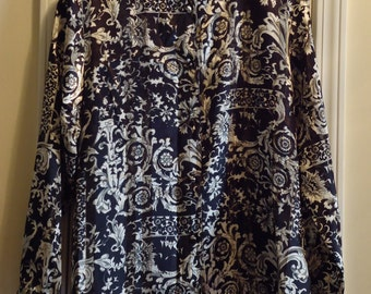 Vintage Georgette Blouse Printed Black and White Size 16