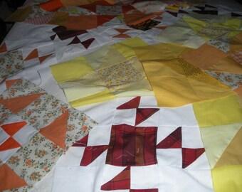 19 orange/yellow/rust colored quilt  blocks