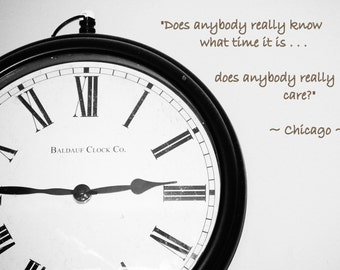 Clock, Time, Black and White Photography, Chicago