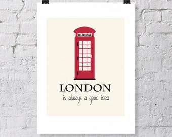 London, travel poster, digital download, visit London, visit England, London vacation, London phone booth, typography