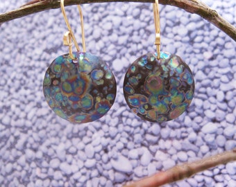 Multi color niobium disc earrings w/14 K GF ear wires.