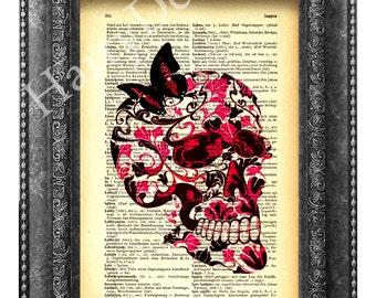 Buy 2 get 1 free - Wall art, Butterfly on Flower Skull collage art, wall decor skull flower collage Print on Vintage Book, Gift boyfriend