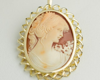 Large, heavy gems BROOCH or as a PENDANT, cameo, handmade