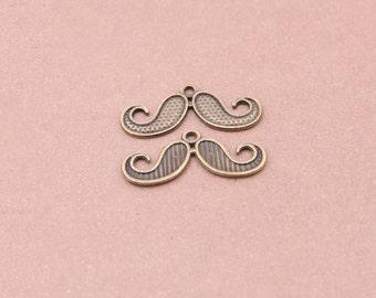 100pcs 30x13mm antique bronze mustache pendants mustache charms Y7139