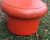 Awesome Orange Vintage Vinyl Mushroom Ottoman Foot Stool Hassock