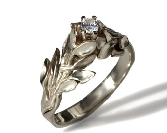leaf pattern embossed wedding ring