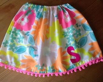 Hand made, personalised letter pom pom skirt