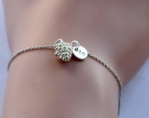 Initial Bracelet, Pine Cone Bracelet, Silver Tiny Pendant Pinecone Bracelet, Woodland Nature Pendant, Bridesmaid jewelry, Christmas Gift