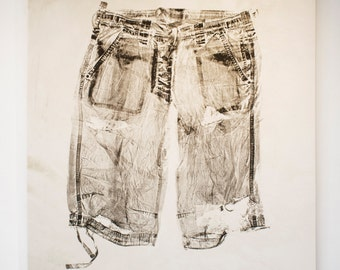 Monoprint of men's shorts on stretched cotton