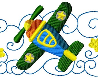 embroidery 4 x 4 aircraft in instant download pattern