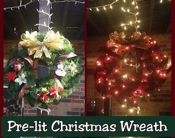 Pre-Lit Christmas Wreath (indoor/outdoor)