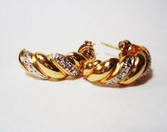 Vermeil Sterling Silver Hoop Earrings with Diamonds