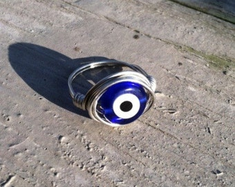 Glass Evil Eye Ring