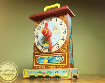 Vintage 1960's Collectible Fisher Price Musical Tick-Tock Clock Toy