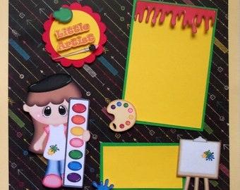 Little Artist Premade 12x12 scrapbook page girls school painting art class