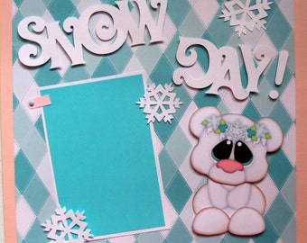 SNOW DAY!Premade 12x12 scrapbook page bear winter snow blizzard