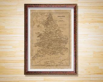 Antique Map print England decor Vintage poster