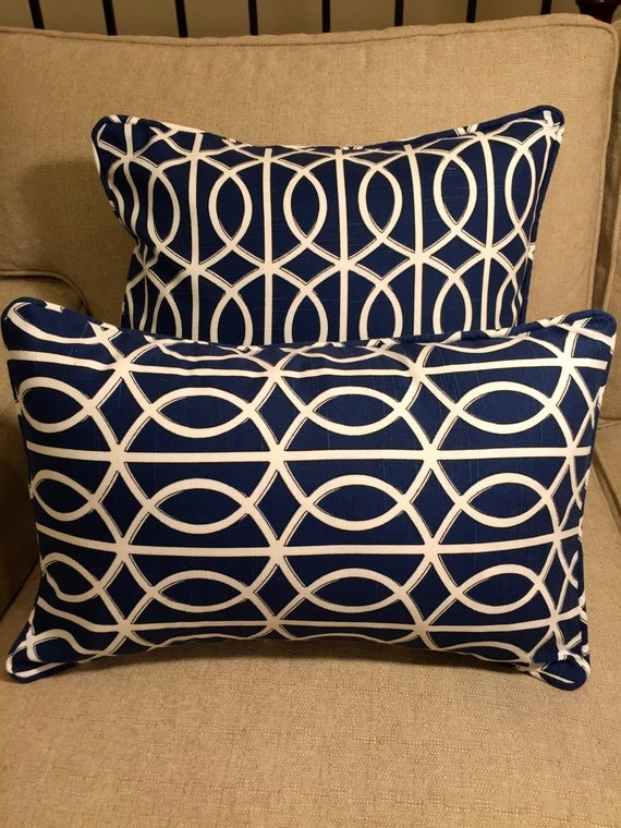 Ready Made Decorative Pillow Covers : 20x13 Decorative Geometric Corded Pillow Cover Blue
