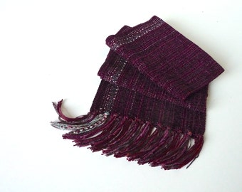Handwoven Soft Blackberry Rayon Chenille on Burgundy Handwoven Scarf. Plain weave Pattern Handmade Woven Chenille Scarf.