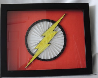 Quilled, framed, comic hero Flash logo paper art