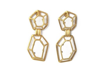 Gold Long Earrings, Geometric Earrings, Drop Earrings, Dangle Earrings, Unique Earrings, Statement Earrings, Architectural Earrings