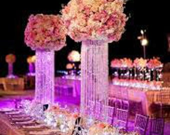 "12"" Glamorous Column Enchanted Chandelier with Battery LED LIghts Centerpiece Wedding & Special Occasion Centerpiece"