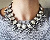 Clear Rhinestone Statement Necklace, Vintage Inspired Bib Collar. FREE SHIPPING