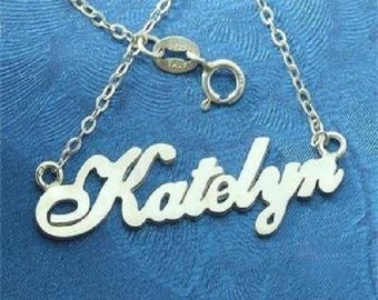 Sterling 925 Silver Katelyn Name Necklace - Any Name Can Be Made