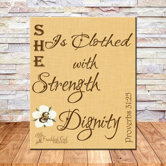Verse She Is Clothed With Dignity: She Is Clothed With Strength And Dignity Proverbs 31:25