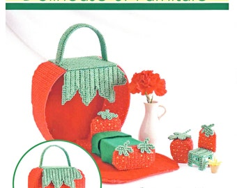 Strawberry Doll House Plastic Canvas Cross Stitch Charted Pattern INSTANT DIGITAL UPLOAD
