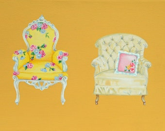 TAKE A PEW - four antique chairs original acrylic painting.