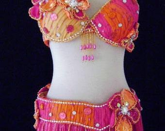 Custom Polka Dot Glitter Beaded Flower belly Dance Costume Professional