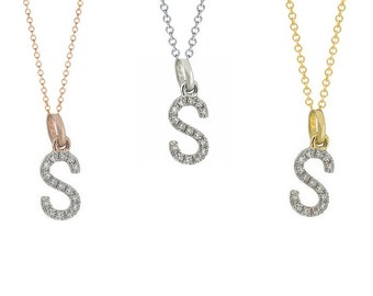 Tousi Jewelers Diamond Letter Necklace -S Alphabet Pendant -Solid 14K Gold- Gold Letter Necklace- 0.08 CT White Color Stone-Initial Jewelry