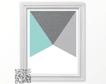 Mid Century Wall Art, Minimalist Print, Minimalism, Geometric Art, Aqua Modern Wall Art, Abstract Art, Abstract Print, Blue Print : A0402