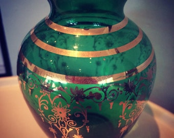Kitch 50's 60's Small Green & Gold Indian Inspires Glass Vintage Retro Vase