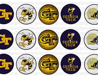 Georgia Tech Yellow Jackets Inspired Bottle Cap Images