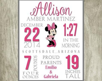 Birth Stat Girls Personalized Minnie Mouse, 8x10 digital file