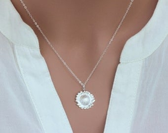 terling silver sunflower necklace,