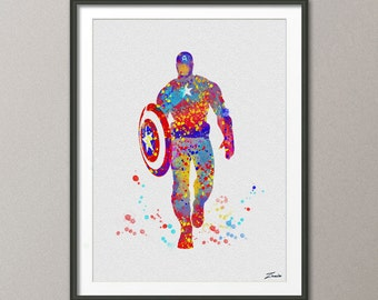 Captain America Print  watercolor art Captain America poster Gift Poster Wall Hanging Wall Decor Captain America watercolor print  No.A005