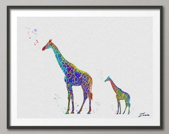 Giraffe Print Giraffe  watercolor art Giraffe  poster Gift Poster Wall Hanging Wall Decor Giraffe for children  watercolor print  No.A016-1