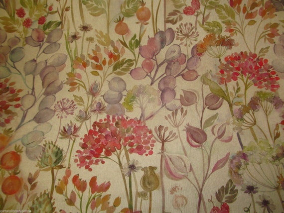 Voyage hedgerow autumn designer curtain fabric roll 140 for Childrens curtain fabric by the metre