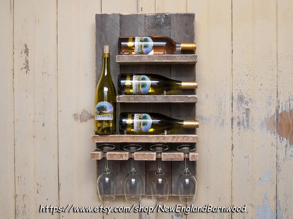 Wine Rack Wall Mount Handmade With Glass By Newenglandbarnwood