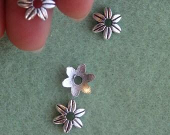 30 flower beads caps tibetan silver wholesale
