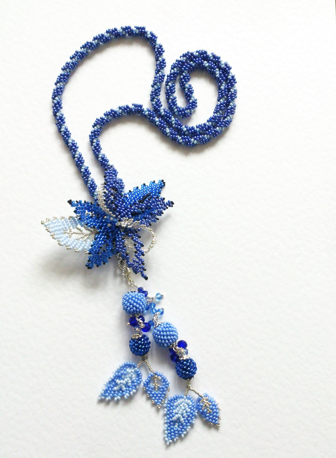 bead woven necklace pendant brooch 3 in 1 set blue braided