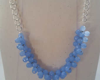 Blue Periwinkle Cluster Necklace