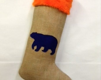 CHICAGO BEARS! Handmade Burlap Stocking Orange Fur and Navy Bear