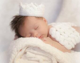 Crochet Newborn Angel Wings & Crown Photo Prop