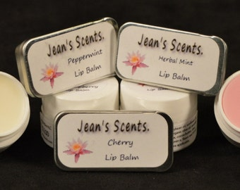 Natural Soy Lip Balm, Plastic or Tin Container