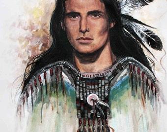 The Warrior, Native American, wall art, wall decor, western, painting, cowboy, print,
